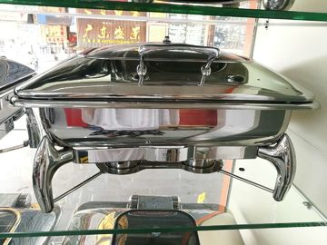 Buffet Stainless Steel Cookwares Mechanical Hinge Induction Chafing Dish Full Size Food Pan 9.0Ltr Glass Window Lid